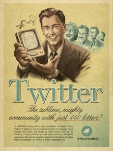 Retro-style poster for Twitter by Moma Propaganda.